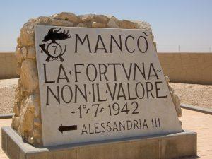 Targa commemorativa che delimita il punto di massima avanzata dell'esercito italiano